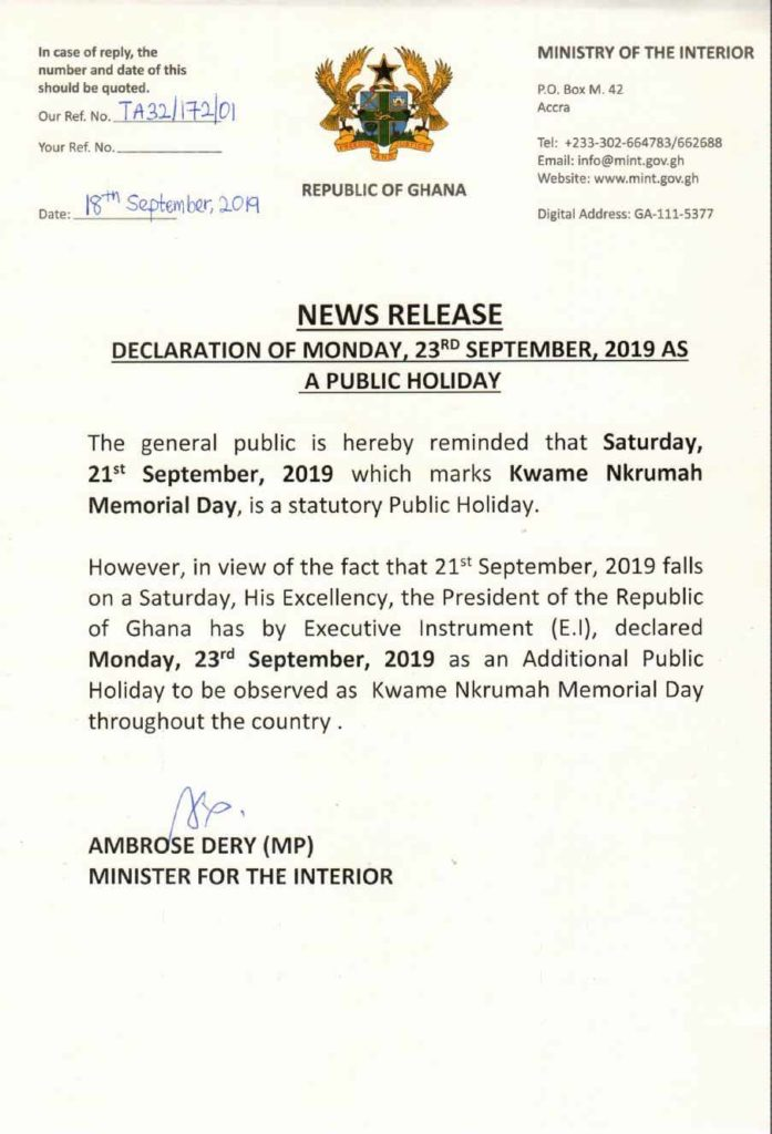 Declaration of Monday September 23rd as a public holiday