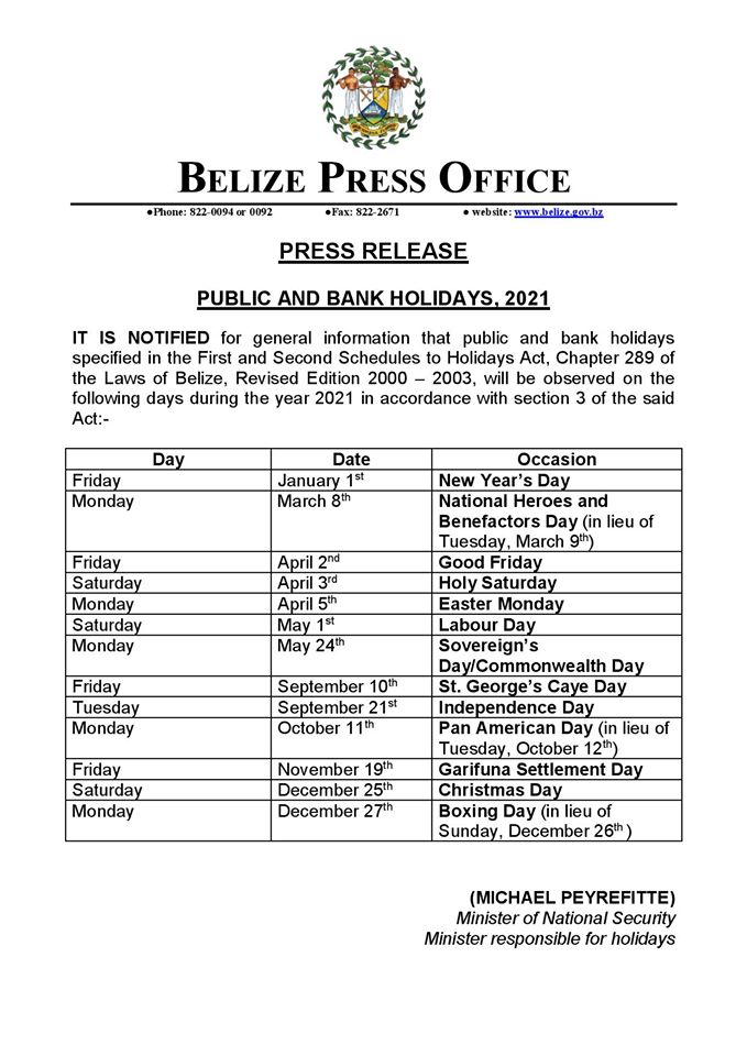 Belize Public and Bank Holidays 2021