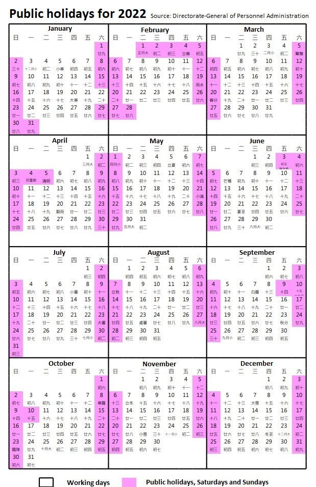 Public Holidays in Taiwan for 2022